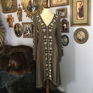 Free People DREAMWEAVER XS Midi Boho Gypsy Dress